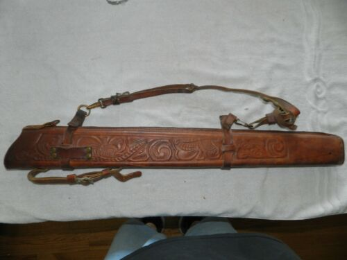 Vintage Embossed Leather Arrow Quiver