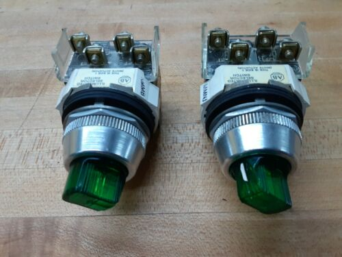 Lot of 2-Allen Bradley 800T-16JX2KB7 Green 3 Position Maintained Selector Switch