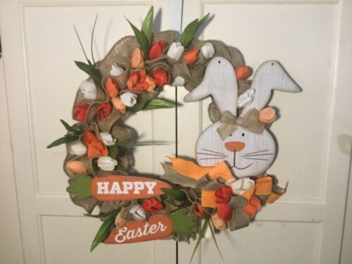 Happy Easter Bunny Natural Ruffled Burlap Wreath