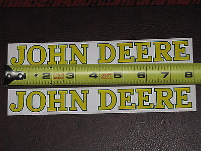 "2 STICKERS JOHN DEERE LOGO 1"" x 7.75"" VINYL STICKER DECAL FARM TRACTOR GATOR NEW"