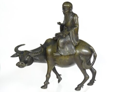 """ANTIQUE 19c. QING CHINESE BRONZE CENSER OF LAOZI ON A BUFFALO ~ 12"""""""