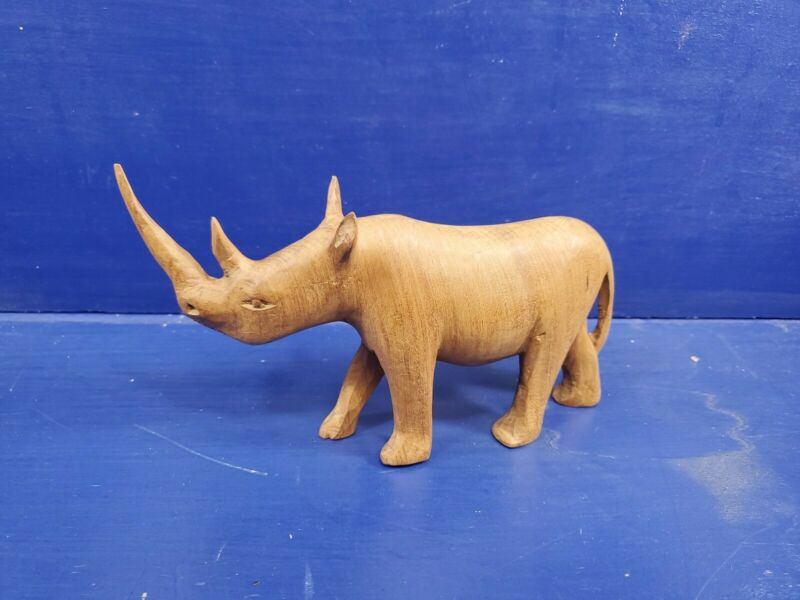 Hand Carved Horned Rhinoceros Figurine a Magnificent Wood Carving