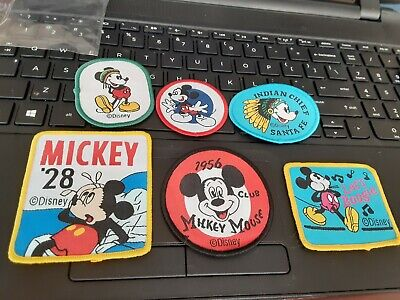 Vintage Disney Mickey Mouse Iron On Embroidered Patches Set of 6