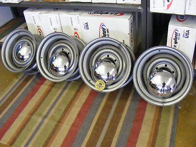 4 Stück Baby Moon Hot Rod Felge 8 X 15  für Chevy Pick up mit Chrom Deckel