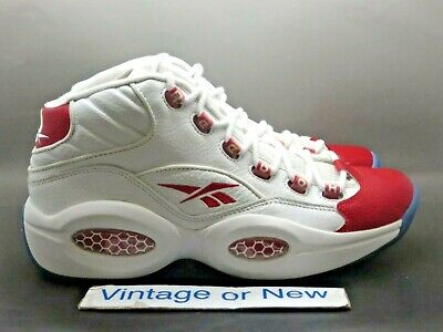 - Reebok Question Mid White Pearlized Red Toe Allen Iverson 2012 sz 9.5