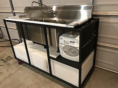 Mobile Concession Portable Restaurant 3 4 Compartment Sink Wdrain Boards.