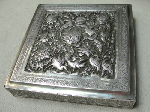 PARVARESH ANTIQUE LARGE SOLID SILVER ENGRAVED HIGHLY DETAILED PERSIAN BOX