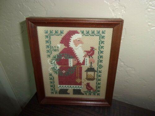 Prairie Schooler Santa Woodland Finished Framed Cross Stitch Signed Dated 1989