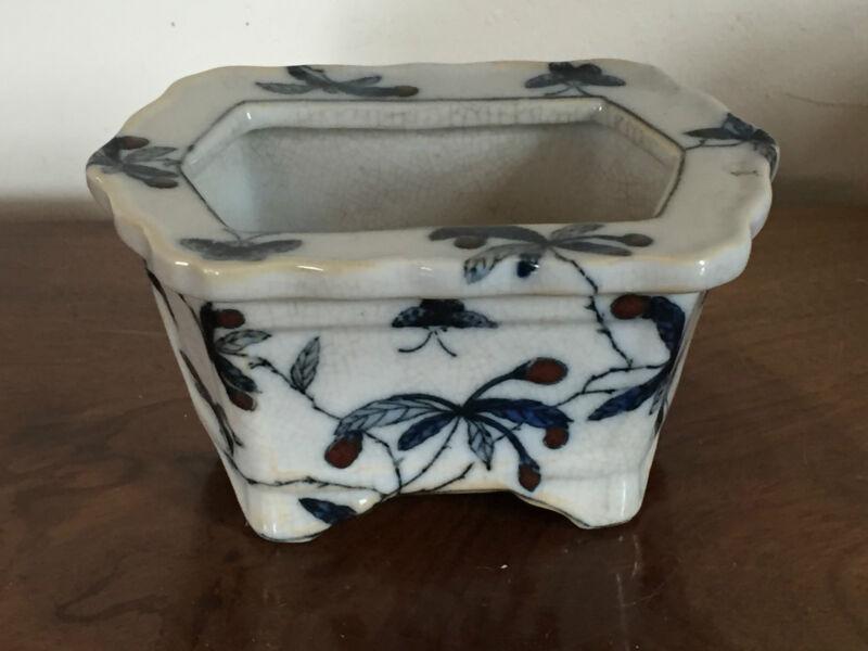 Vintage Chinese Porcelain Blue & White Planter Flower Pot Vase United Wilson