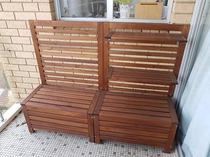 IKEA Applaro outdoor storage bench/box, wall panel and shelves