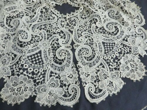 Antique Vtg Elaborate Schiffli Guipure Edwardian LARGE Bertha Dress Collar