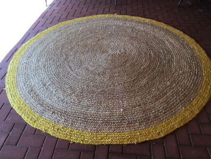 Large Round Natural Jute Rug With Yellow Trim Freedom Madras 250cm