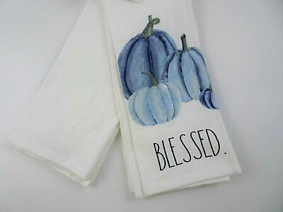 "NWT Rae Dunn Kitchen Towels Holiday Fall Thanksgiving Set Of 2 Pumpkins ""BLESSED"