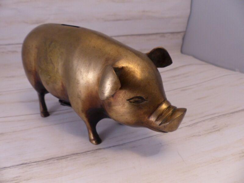 PIGGY BANK METAL PIG BANKING Farm Animal w/Stopper