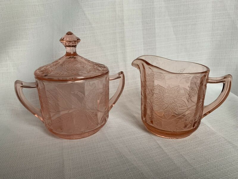 Vintage Pink Jeanette Depression Glass Poinsetta Creamer Sugar Bowl with Lid Set