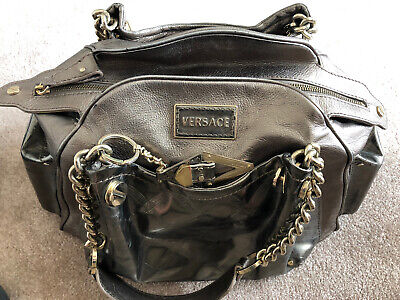 AUTHENTIC Vintage Versace Dark Gold Leather Handbag 16in X 10in