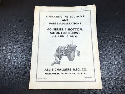Original Allis Chalmers 60 Series 1 Bottom Mounted Plow Operators Parts Manual