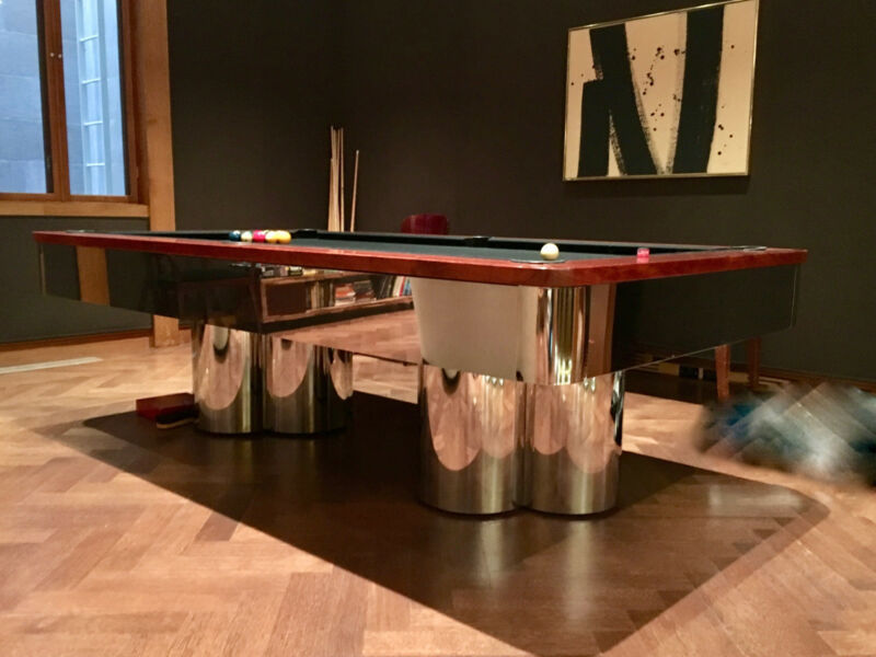 Chrome Pool Table with Chrome Base