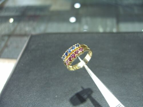Fine 14 Karat Yellow Gold Sapphire And Ruby Ring New! Size 7.0 Hand Made Wow!!