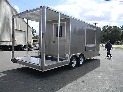 New 8.5 X 20 Enclosed Concession Stand Food Vending Bbq Porch Trailer Texas