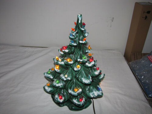 "Vintage Atlantic Mold Ceramic Christmas Tree Light 16"" Snow Capped Branches 1974"