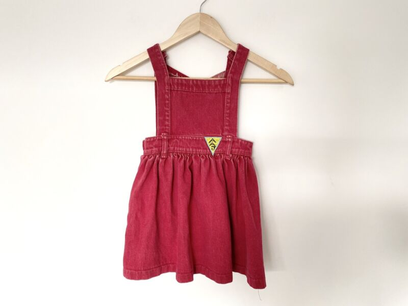 A.A.Junior Red Overall Dress Girls Age 2 100% Cotton Made In Australia Vintage