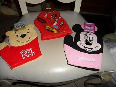 Set of 3 Disney Bath Mitt Puppets - Pixar Cars, Winnie the Pooh, Minnie Mouse