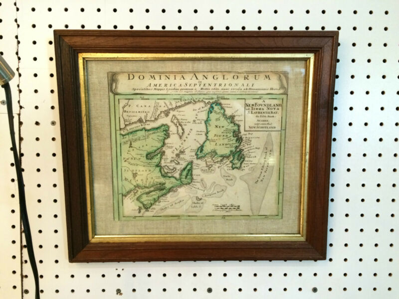 "DOMINIA ANGLORUM FRAMED MAP AMERICA SEPTENTRIONALI 16X14"""