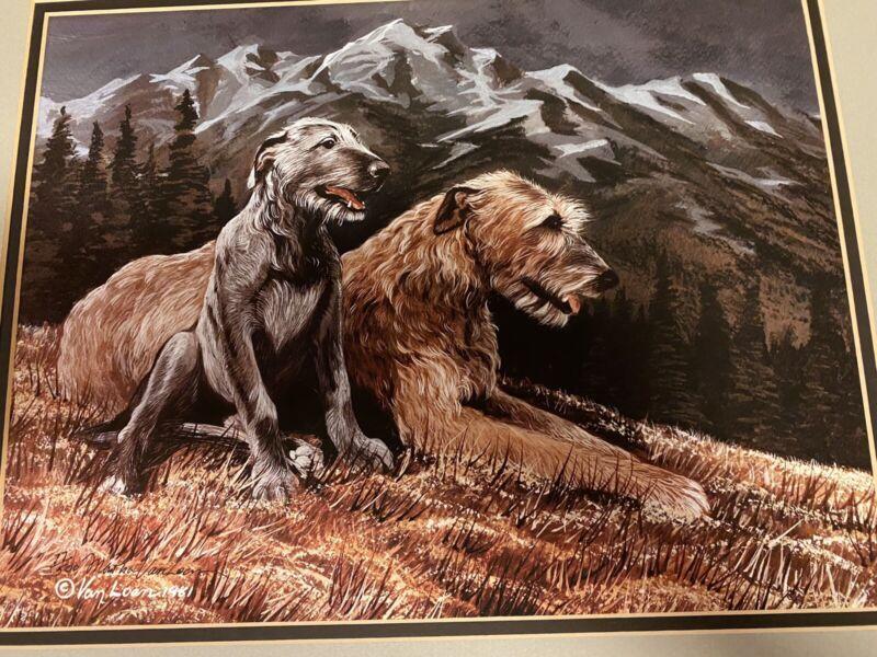 Irishwolf Hound Mother And Puppy Ltd Ed 11x14 Matted By Van Loan