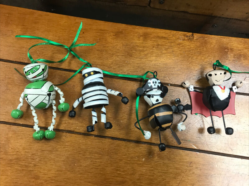 Lot OF Four Halloween Jingle Bell-Metal Ornaments Two  Mummy
