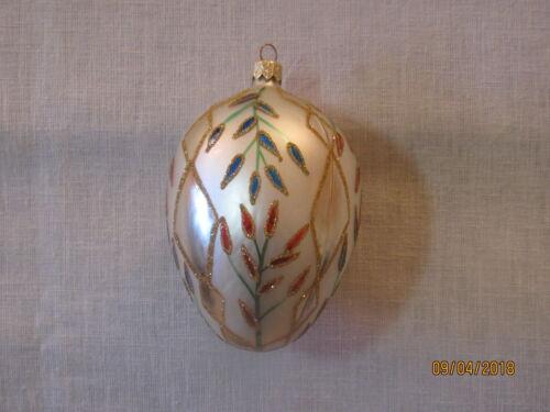 Mouth Blown Glass Egg Christmas Ornament, Original Box, Poland