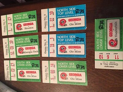 1974 University of Georgia Bulldogs Football Ticket Lot Six tickets Ole Miss for sale  Levittown