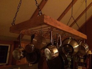 Wooden pots and pan ceiling rack
