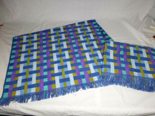Pr Vtg Cannon Monticello Basketweave Design Bath Towels 25x40 Blue Purple Aqua