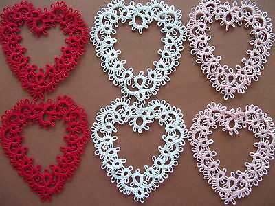 Tatted Hearts, Tatting, Tatted Valentine's Day Hearts, Lace Hearts, -