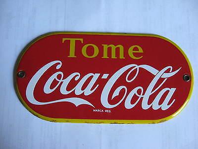 VINTAGE ORIGINAL 1940's COCA COLA COKE PORCELAIN (enamel) BUTTON SIGN VERY RARE