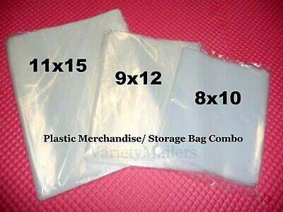 300 Clear Plastic Merchandise Bag Variety Pack 8x10 9x12 11x15 1.5 Mil
