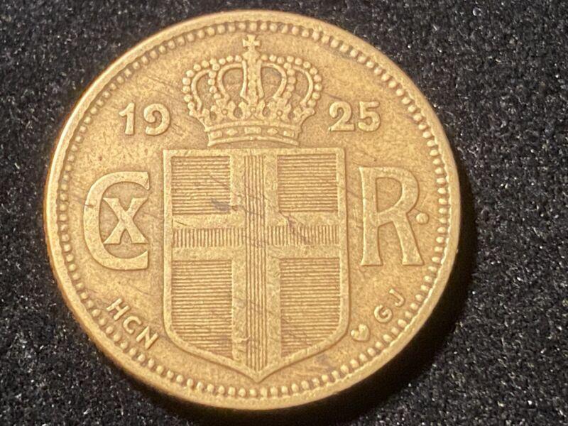 ICELAND 1 Krona 1925, KM3.1 Die Crack on Reverse. High Grade.