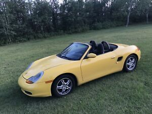 ***Porsche Boxster, convertible, buttercup yellow!!***