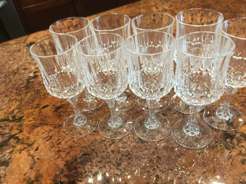 Vintage Wine Glass Set of 8 Pressed Glass Clear + Bonus Glass
