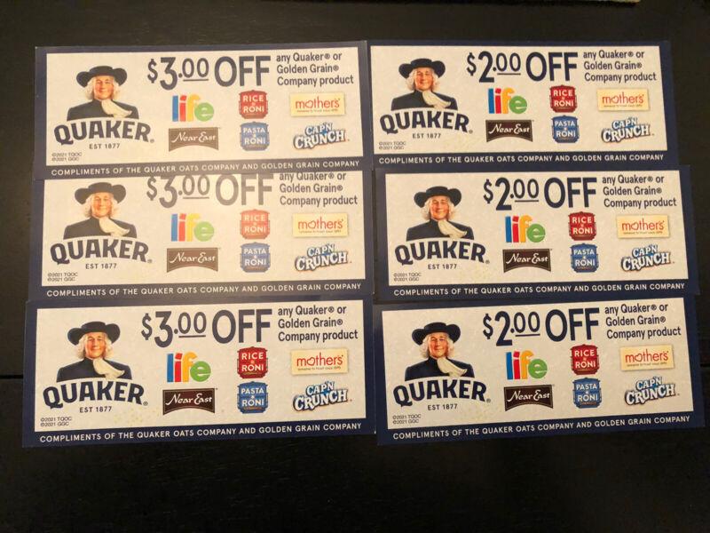 QUAKER & GOLDEN GRAIN Food Product Coupons Worth $15! Rice-a-Roni! Cap