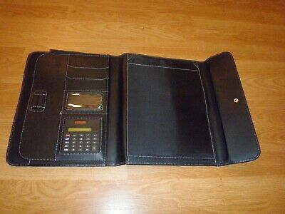 Professional Genuine Leather Padfolio - Organizer Notepad Calculator
