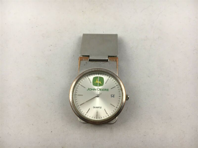 Vintage John Deere Silver Tone Money Clip Watch