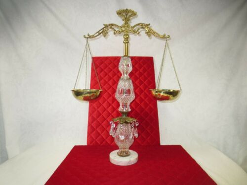 Vintage Brass SCALES OF JUSTICE Balance w marble base crystal & grape motif 24""