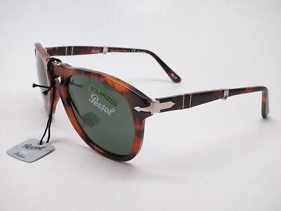80309339651 Persol PO 714 108 58 Caffe w Green Polarized Folding Sunglasses 52mm