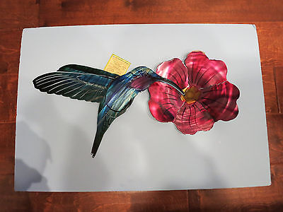 NEXT INNOVATIONS-3D Hummingbird & Flower Metal Wall Art Decor-Indoor or Out-New