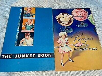 Vintage 1935 JUNKET Advertising RECIPES Lot of 2 Booklets GREAT ILLUSTRATIONS