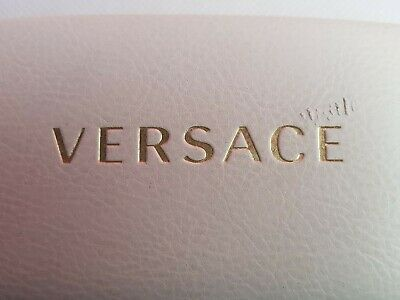 Versace White Clam Shell Hard Case Snap Shut Eye Glass Case