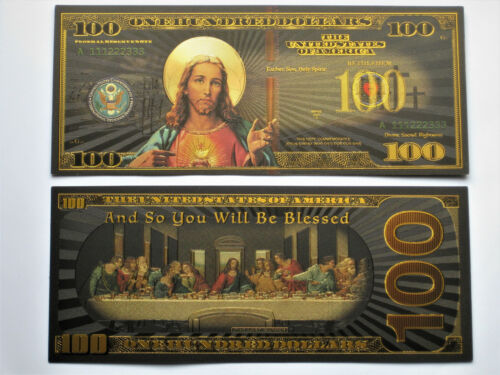 2-Black Gold Banknote LAST SUPPER  Blessings non Paper Charm Spirituality Jesus