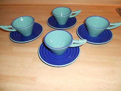 4 Espressotassen Kaffeetassen mit Untertasse ASA 1988 türkis blau STYLISCH TOP